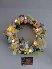 Easter Door Wreath light up Pink Yellow Egg Wreath Bunny chick unicorn
