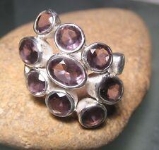 Sterling silver cut gemstones amethyst ring UK M½ /US 6.5. Gift Bag.