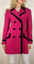 CHRISTIAN DIOR NY PARIS Vintage Wool Double Breasted Coat Magenta Black Size 10