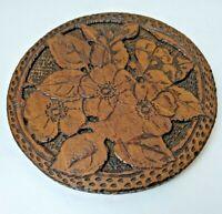 Antique Folk Art Flemish Art Pyrography WILD ROSES Carved & Burned Plaque 850