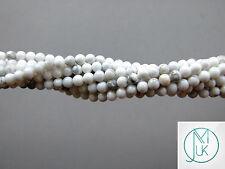 White Howlite Natural Gemstone Round Beads 3mm Jewellery Making (120+ Beads)