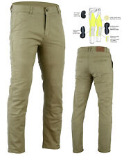 New Men's Kevlar® Lined Mycle Chinos Stretch Cotton Jeans  TAN Optional CE Armor