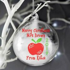 Merry Christmas Bauble Vinyl Decal Sticker Teacher Santa Gifts Name Personalised