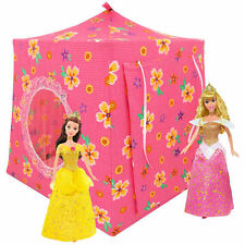 Pink, flower print Toy Play Pop Up Doll House, 2 Sleeping Bags, handmade