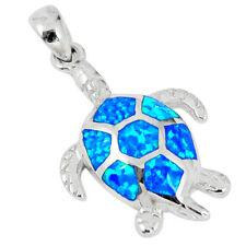 Blue Australian Fire Opal Enamel 925 Sterling Silver Turtle Pendant A57388