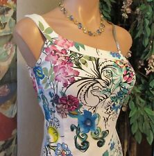 VERSUS BY GIANNI VERSACE(US2/XS/2XS)Colorful Floral Pattern Sleeveless Logo EUC!