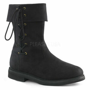 Black Robinhood Medieval Knight Viking Renaissance Fair Costume Shoes Boots Mens