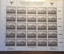 WW2 Germany Poland 1943 6 Zly General Government Sheet Stamp War Castle MNH