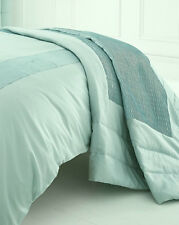 QUILTED PEARL DUCK EGG BEDSPREAD THROW OVER 200cm x 230cm SOFT POLYESTER