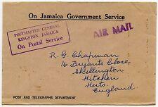 Jamaica oficial jefe de correos en caja gomígrafo en puestos + TELÉGRAFOS CORREO AÉREO ojgs