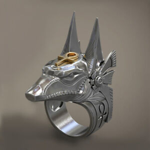Men Punk Anubis Ring Fashion Party Hip Hop Stainless Steel Band Jewelry Gift