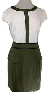 BOOHOO Dress Khaki & Beige Knee Length Stretch Cap Sleeves Workwear UK 14