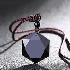 Men Women Black Necklace Obsidian Stone Pendant Jewelry Sweater Chain Ornaments