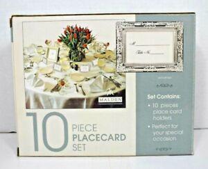 "Malden International - 10 Piece Placecard Set 3.25"" x 2.5"" (Silver Finish) New"