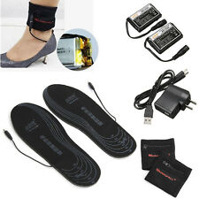Electric Battery Heated Insoles Foot Warmer Shoes Foot Pad Winter Warm Black