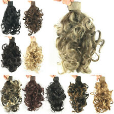 Ladies Wrap Around Short Wavy Curly Clip in Ponytail Synthetic Hair Extensions