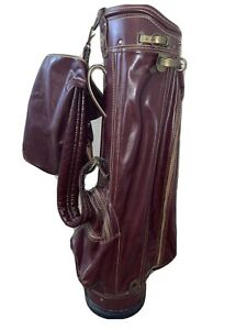 Vintage  Wilson Indestructo Genuine All Leather Golf Bag w/ Rain Cover
