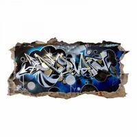 148 Wandtattoo Graffiti blau grau - Loch in der Wand Spray Teenager Wandbild