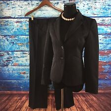 J Crew Women's 2 Pc Pant Suit Black Blazer 100% Wool 2 Button Career Classic 2P