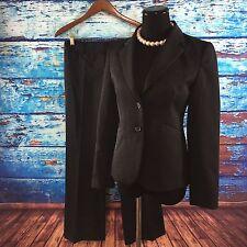 J Crew Women's 2 Pc Pant Suit Black Blazer 100% Wool 2 Button Career Classic 2P