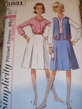 1965 SIMPLICITY #5931 - LADIES INVERTED PLEAT SKIRT-SHIRT & VEST PATTERN  12 uc