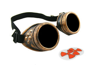Antique Copper Steampunk Cyber Goggles Welding Goth Cosplay Vintage Rustic