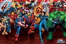"MARVEL COMICS HEROES laminated POSTER ""RUNNING"" LICENSED ""BRAND NEW"" SPIDERMAN"