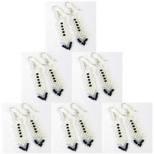 NICKLE FREE WHITE BLACK CZ ELEGANT BEADED EARRINGS WHOLESALE LOT 6 PAIRS JEWELRY