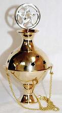 Pentagram Pentacle Crowned Hanging Brass Censer Incense Burner Powder Pagan Gold