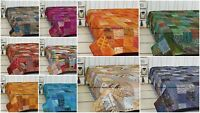 Indian Kantha Bed Cover Reversible Bedspread Throw Silk Vintage King Size Quilt