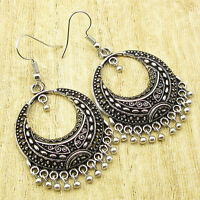 925 Silver Plated ANTIQUE STYLE HANDWORK HOOK Earrings 2 1/4 Inches NEW