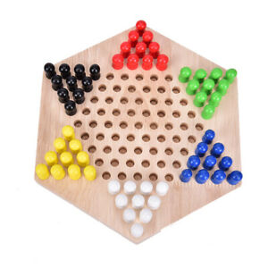 1PC Most Popular Traditional Hexagon Wooden Chinese Checkers Family Game Set: PZ