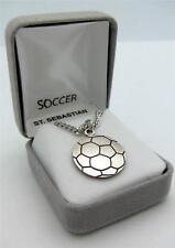 """MRT St Sebastian Mens Boys Sterling Silver Soccer Player Medal 3/4"""" Gift w Chain"""