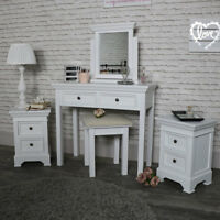 White dressing table mirror stool set 2 bedside table chests bedroom furniture
