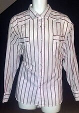 UNI Uniform Code Vintage Western Shirt White & Red Stripe Pearl Snap X-Large