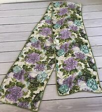 Ann Taylor Silk Scarf Abstract Floral Green Blue Purple Hydrangea 70 x 11 Long