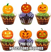 PRE-CUT Glowing Pumpkins Mix Edible Cupcake Toppers Decorations Halloween Party