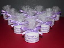 Personalised Candle Tealight Hen Party Favours Any Colour Satin Ribbon Set 10