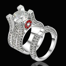 Size 6 White Gold White Crystal Wedding Engagement Ring Band Set Anniversary