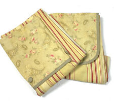 Waverly Pair 2 Curtains Panels Red Gold Stripe & Floral Print Mixed Rare 42 x 80