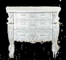 WHITE  hand carved 100% mahogany wood chich ROCOCO chest of 3 drawers (76x50x60)