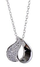 Swarovski Elements Crystal Heart Pendant Necklace Rhodium Plated Authentic 7132y