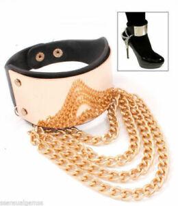New Pair Boot Chain Shoe Heels Women Layered Draped Straps