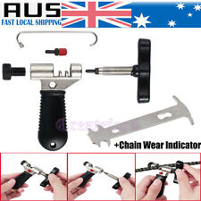 Bicycle Steel Chain Breaker Splitter Cutter Repair Tool + Chain Wear Indicator