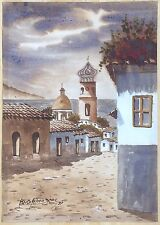Marco Antonio Diaz 1997 Signed 10x14 Watercolor Chile Village Scene w/ Minaret