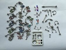36 Pc  NAVEL BELLY RING RHINESTONE BUTTON BAR NOSE RING BODY PIERCING JEWELRY