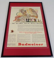 1942 Budweiser Beer 11x17 Framed ORIGINAL Vintage Advertising Poster