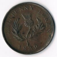 NOVA SCOTIA 1832 3/8 2 1/2D: NS-3CD1:  Re-engraved stem plus new leave sprout.