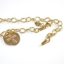 "Solid 14K Yellow Gold Cross Starter Charm Rolo Chain Link Bracelet 7.5"" 4mm  ZQ2"