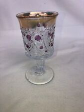 "EAPG Paisley Glass Wine Goblet 6"" Tall 3"" Across Gold & Purple Accents"